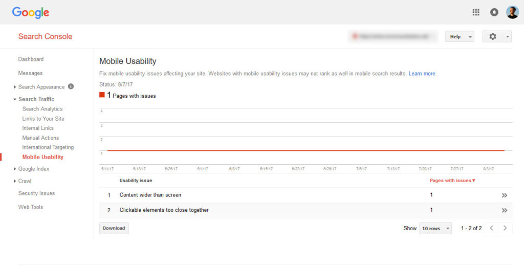 google search console mobile usability test
