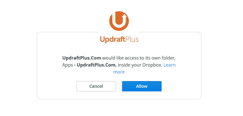 allow updraftplus access to dropbox