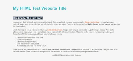 html website with css styling