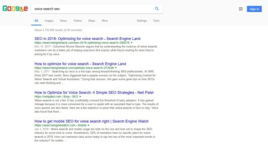 normal search query on desktop