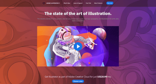 The Adobe Illustrator home page.