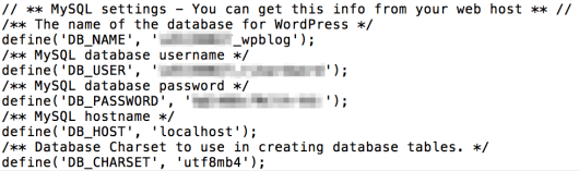 The MySQL settings in the wp-config.php file.