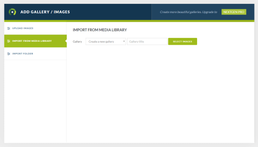 Importing images to your gallery from the WordPress media library.