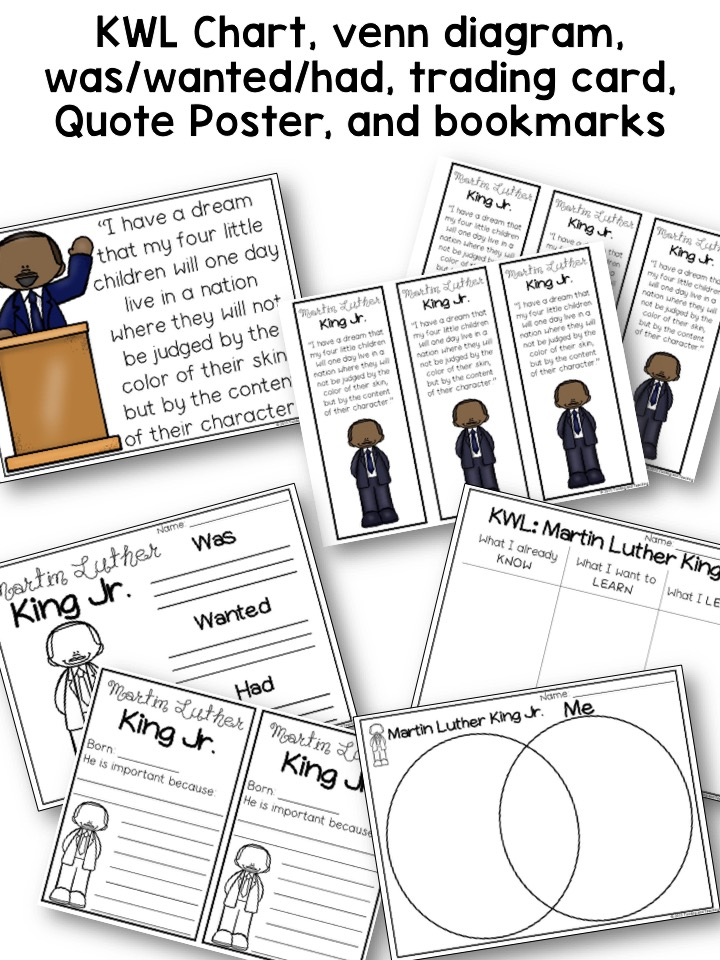 Martin Luther King Jr Biography Pack Black History Month A Page