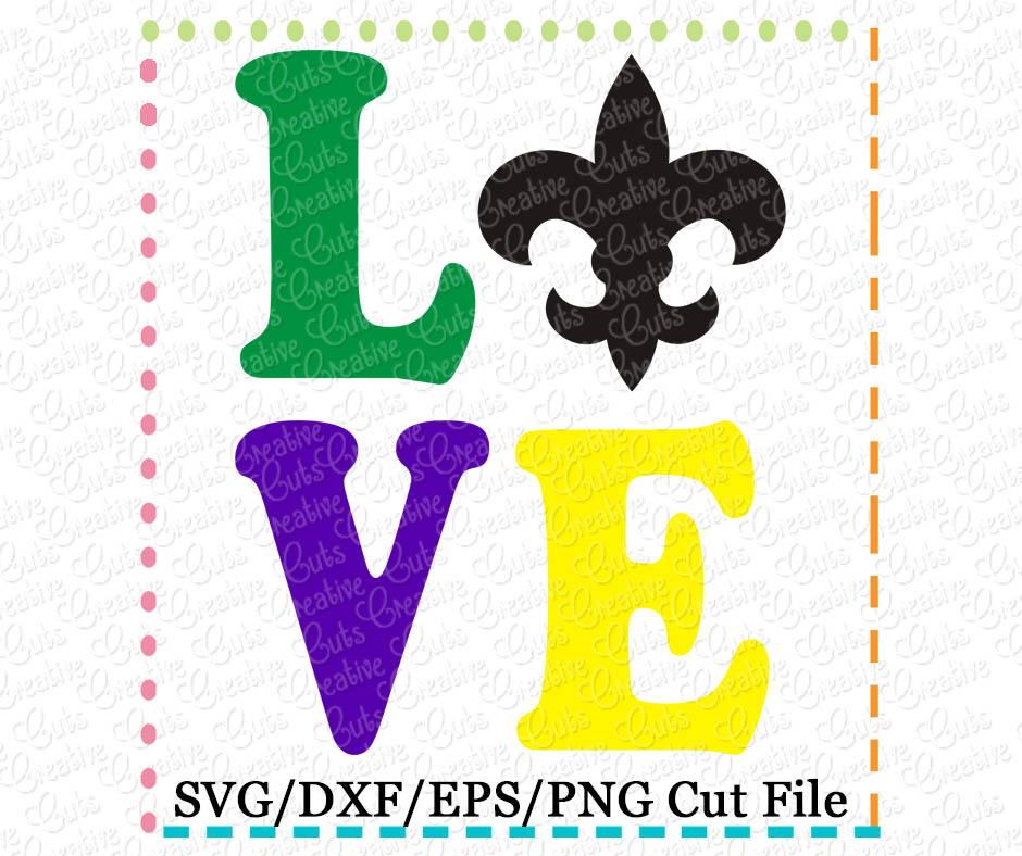 Download Love Fleur De Lis Cutting File SVG DXF EPS - Creative ...