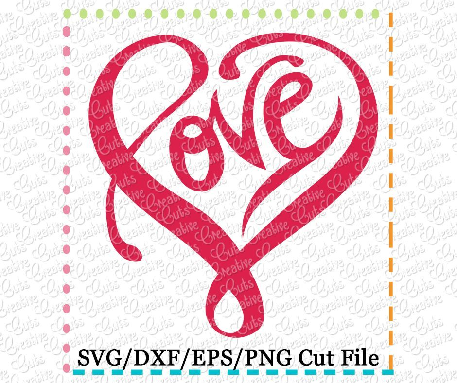 Download Love Heart Cutting File SVG DXF EPS - Creative Appliques