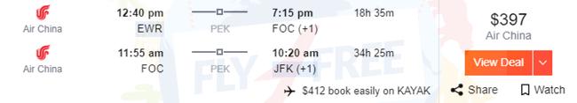EWR to FOC, FOC to JFK