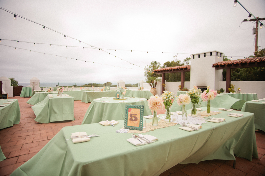 Handcrafted Mint And Peach California Wedding
