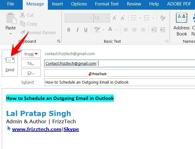 Schedule an Outgoing Email in Outlook - send