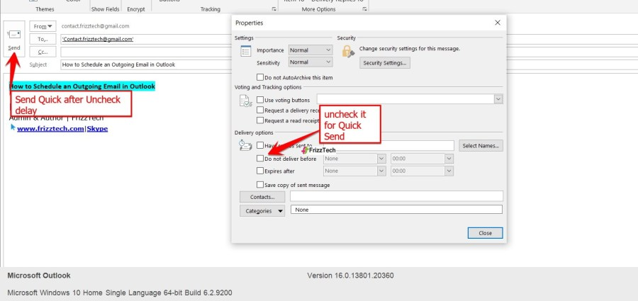 Schedule an Outgoing Email in Outlook - send Quick