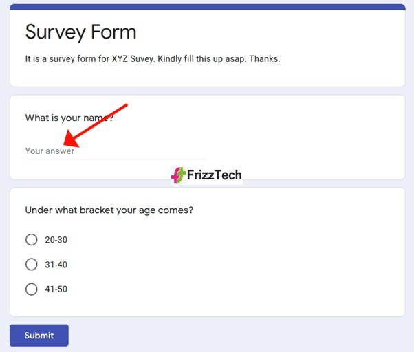 Google Forms screen survey form screen 9