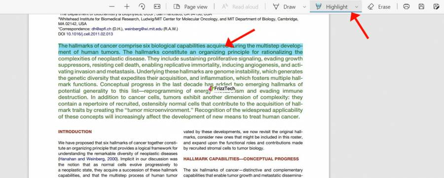 microsoft-edge-pdf- highlighted section