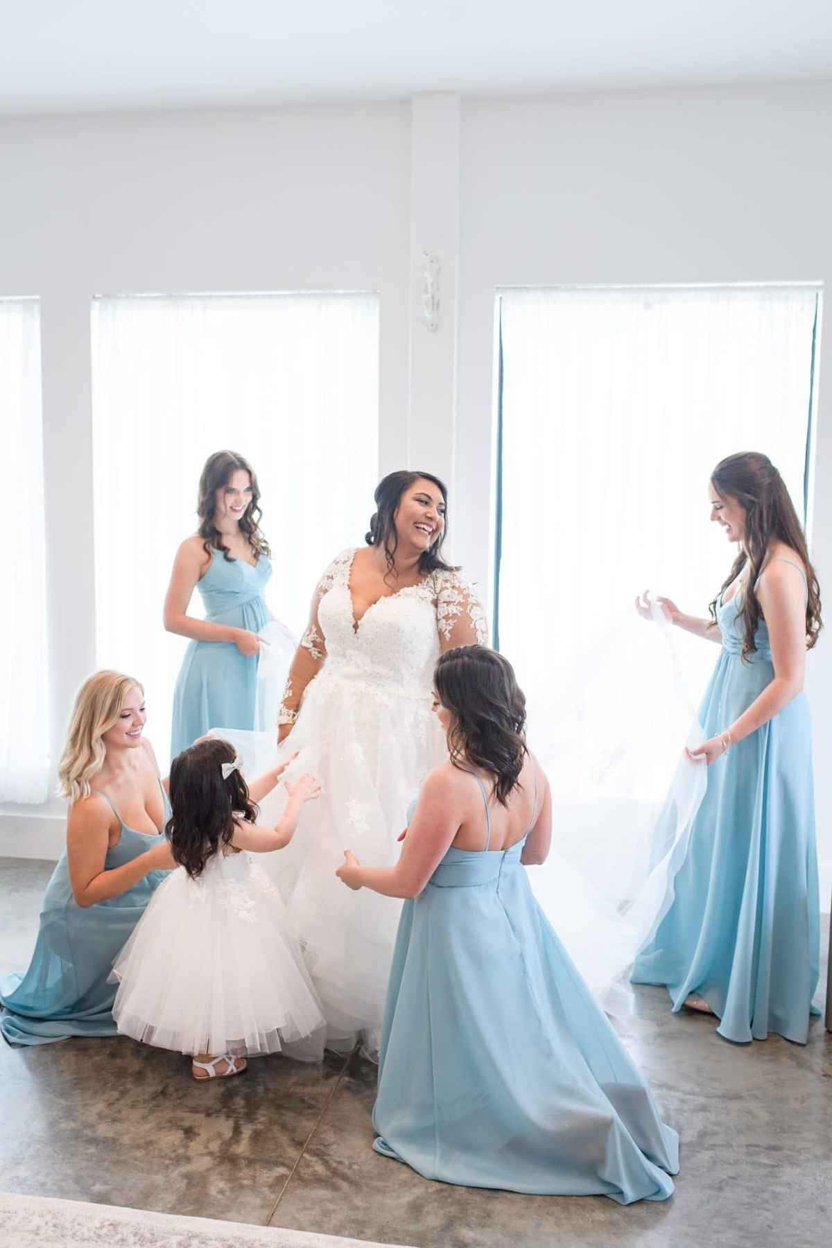 bridesmaids getting ready at emerald hills event center