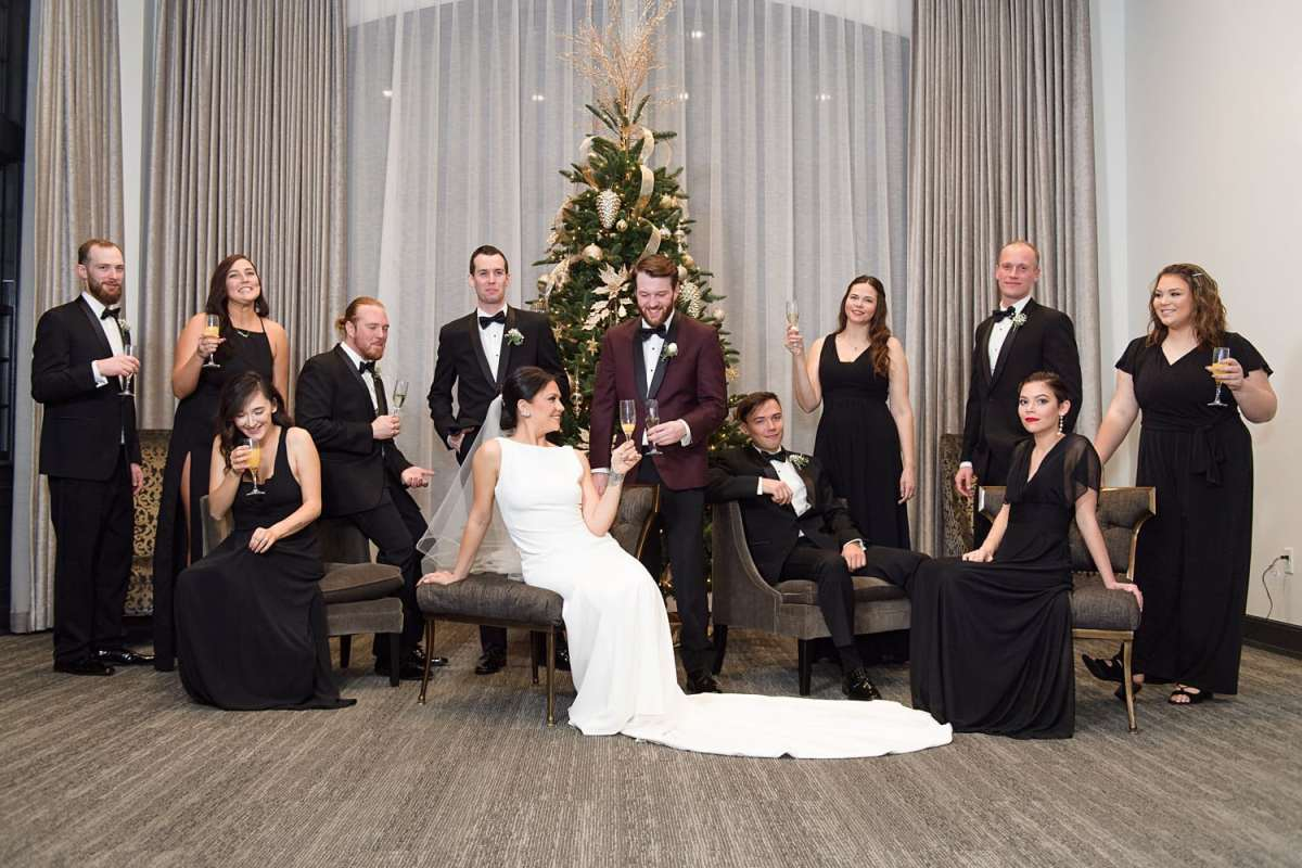 mad men style and vogue bridal party group photo at the tea room