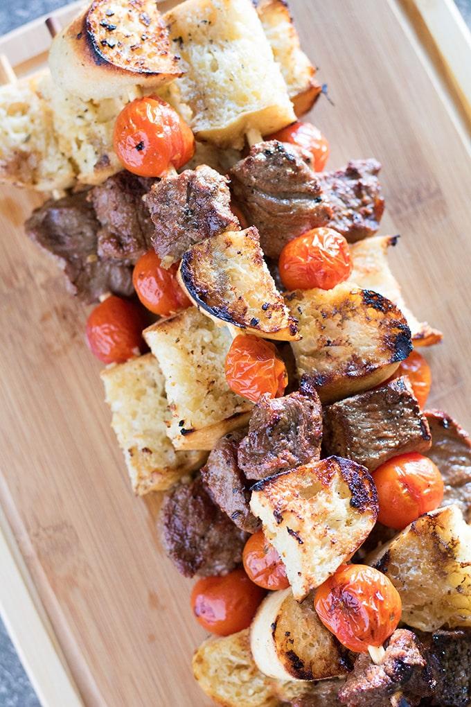 Steak & Garlic Bread Kabobs Recipe | The Salty Marshmallow