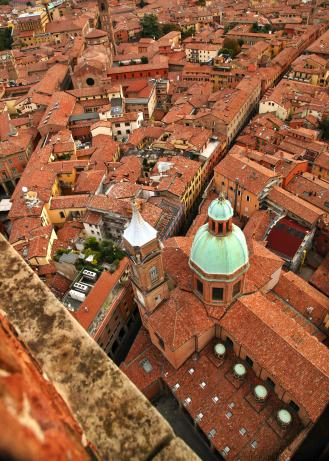 Bologna tower view down