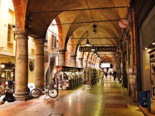 Bologna porticos bookstore
