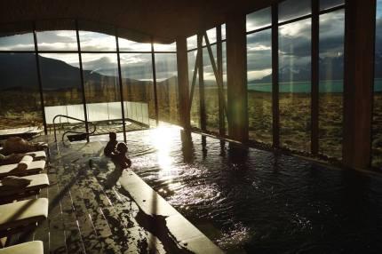 Tierra Patagonia indoor pool sunset