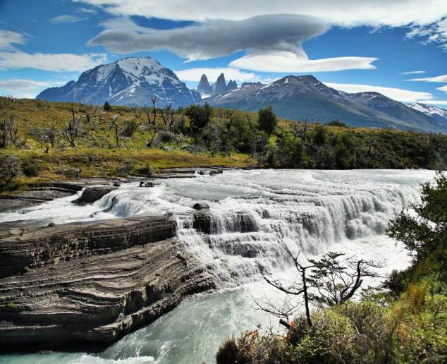 Torres del Paine waterfall mountains