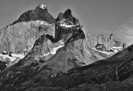 Torres del Paine National Park Los Cuernos B&W