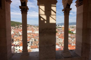 Split Bell Tower red roofs