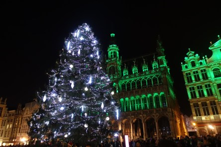 Brussels Grand Place Christmas tree night