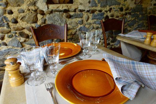Les Pres d'Eugenie La Ferme place setting.