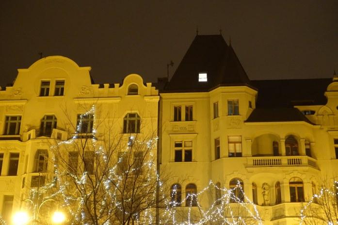 Prague building at night
