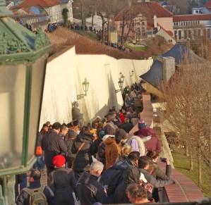 Prague crowded walkway