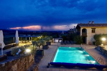 Castell d'Emporda pool at night