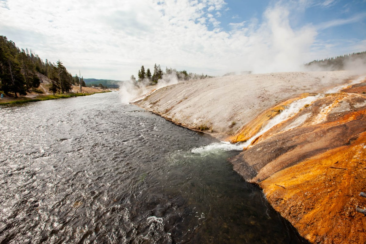 Firehole River on the hike to the Grand Prismatic Spring at Yellowstone National Park #vezzaniphotography