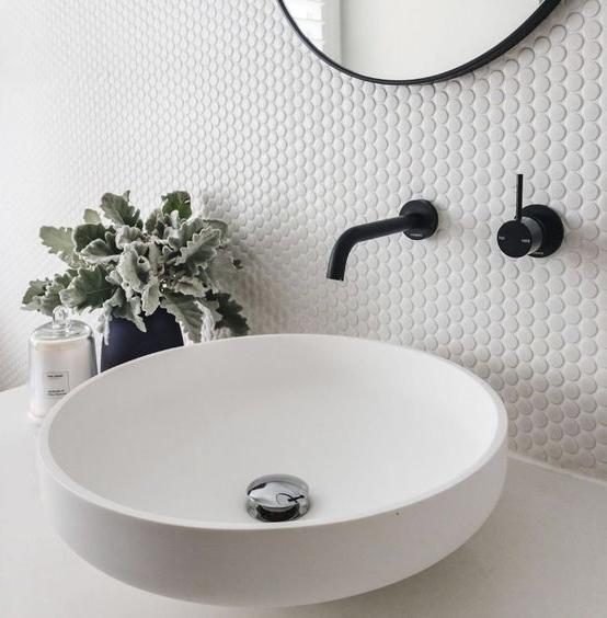 penny tile bathroom backsplash ideas