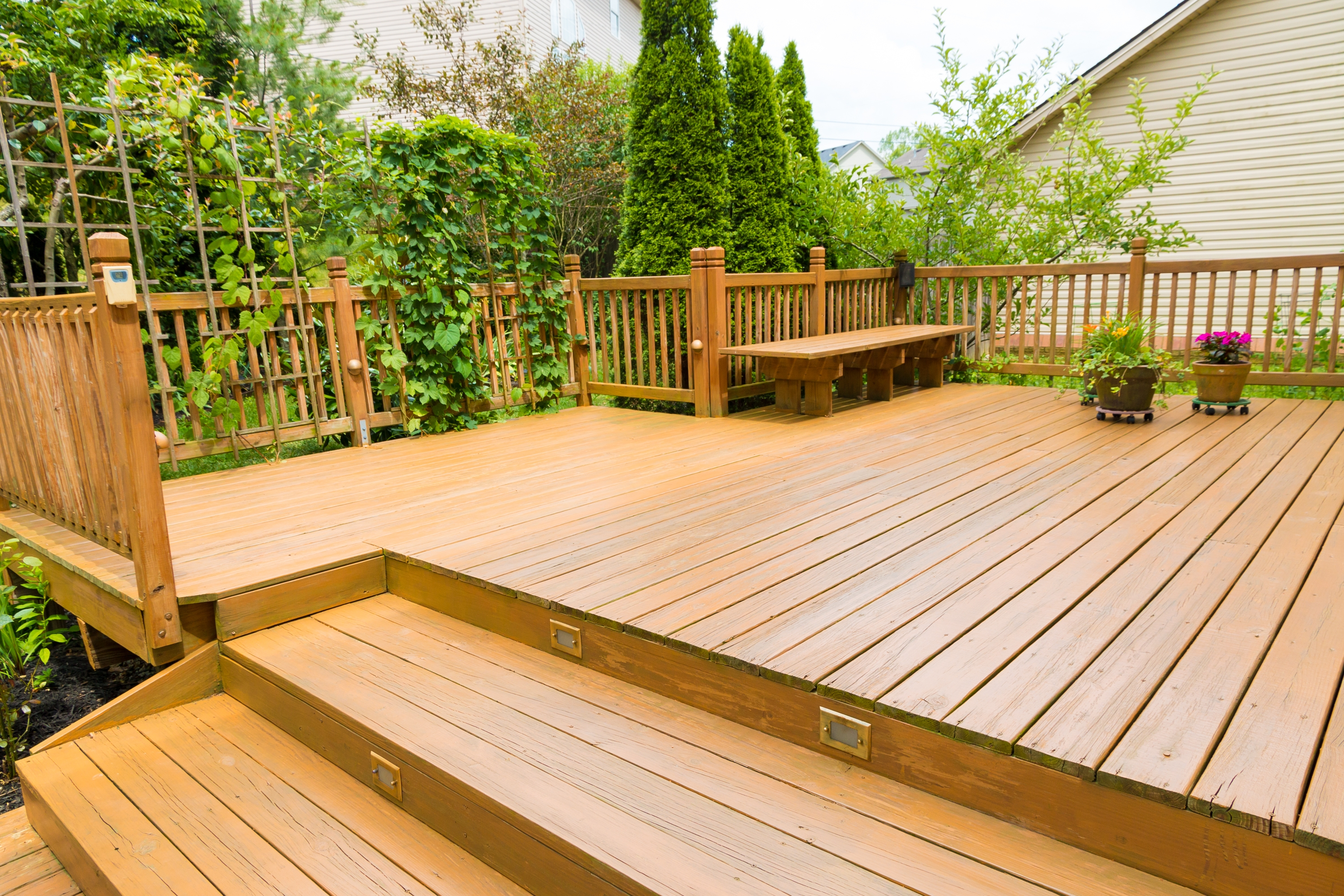 The Average Cost For A 2Nd Story Deck Home Guides Sf Gate | Pressure Treated Deck Stairs | Flared | 5 Foot | Landing | Pre Built | Simple