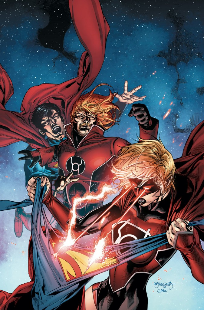 Supergirl will be a member of the Red Lanterns for the foreseeable future. Issue 29 cover by Vitti.