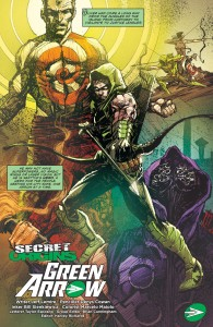 SECRET ORIGINS #4 - Oliver Queen Green Arrow splash page.