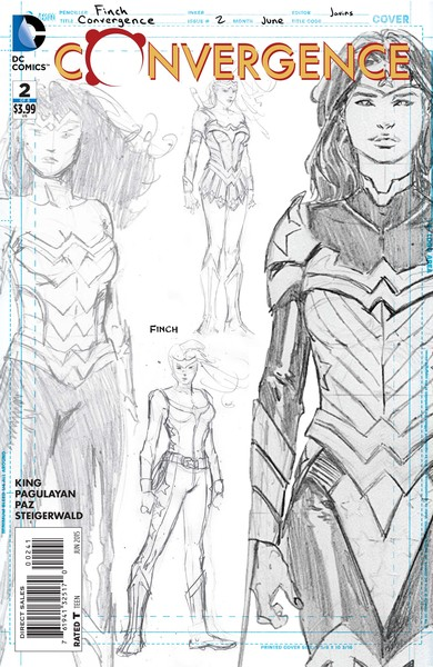 Convergence #2 sketch variant cover (art by David Finch)