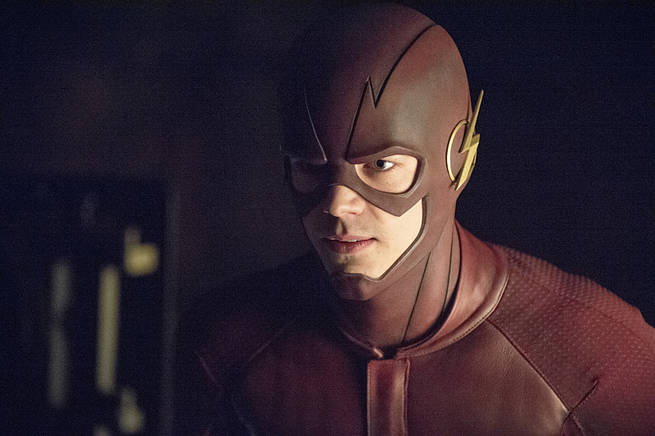 """Arrow -- """"My Name is Oliver Queen"""" -- Image AR323A_0146b -- Pictured: Grant Gustin as Barry Allen / The Flash -- Photo: Cate Cameron/The CW -- © 2015 The CW Network, LLC. All Rights Reserved."""