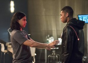"The Flash -- ""The Fury of Firestorm"" -- FLA204A_0288b2 -- Pictured (L-R): Carlos Valdes as Cisco Ramon and Franz Drameh as Jax Jackson -- Photo: Cate Cameron /The CW -- © 2015 The CW Network, LLC. All rights reserved."