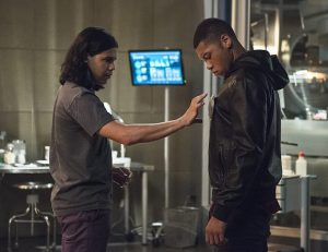 "The Flash -- ""The Fury of Firestorm"" -- FLA204A_0259b2 -- Pictured (L-R): Carlos Valdes as Cisco Ramon and Franz Drameh as Jax Jackson -- Photo: Cate Cameron /The CW -- © 2015 The CW Network, LLC. All rights reserved."
