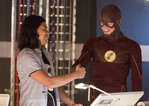 "The Flash -- ""Family of Rogues"" -- Image FLA203a_0017b.jpg -- Pictured (L-R): Carlos Valdes as Cisco Ramon and Grant Gustin as The Flash -- Photo: Jeff Weddell/The CW -- © 2015 The CW Network, LLC. All rights reserved."