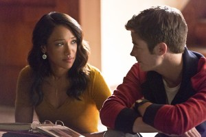 """The Flash -- """"Family of Rogues"""" -- Image FLA203a_0544b.jpg -- Pictured (L-R): Candice Patton as Iris West and Grant Gustin as Barry Allen -- Photo: Jeff Weddell/The CW -- © 2015 The CW Network, LLC. All rights reserved."""
