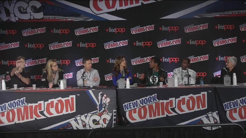 L-R: Kevin Conroy, Susan Eisenberg George Newberg, Maria Canals-Barrera, Phil LaMarr, Carl Lumbly, Andrea Romano