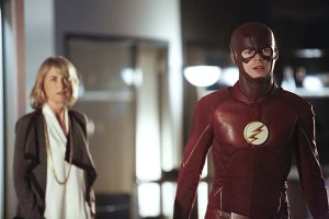 """The Flash -- """"The Reverse Flash Returns"""" -- Image FLA211b_0174b -- Pictured (L-R): Grant Gustin as The Flash and Amanda Pays as Christina McGee -- Photo: Bettina Strauss/The CW -- © 2016 The CW Network, LLC. All rights reserved."""