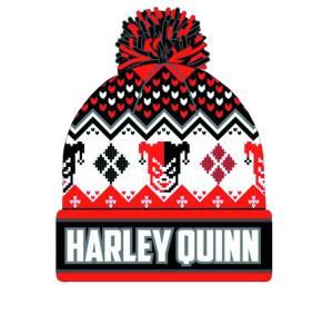 HARLEY QUINN INTARSIA KNIT CUFF POM BEANIE $18.00