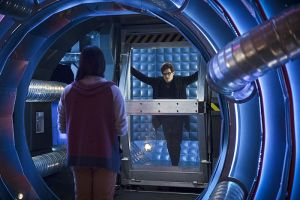 """The Flash -- """"Flash Back"""" -- Image: FLA217b_0058b.jpg -- Pictured (L-R): Carlos Valdes as Cisco Ramon and Andrew Mientus as Hartley Rathaway -- Photo: Diyah Pera/The CW -- © 2016 The CW Network, LLC. All rights reserved."""