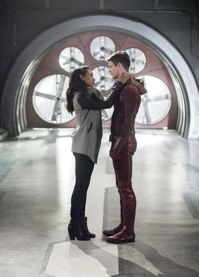 """The Flash -- """"Infantino Street"""" -- FLA322a_0201b.jpg -- Pictured (L-R): Candice Patton as Iris West and Grant Gustin as Barry Allen -- Photo: Dean Buscher /The CW -- © 2017 The CW Network, LLC. All rights reserved."""