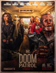 The doom patrol season 1 poster with them all on a bus