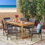 Details About Louis Outdoor 7 Piece Acacia Wood Dining Set With Stacking Wicker Chairs