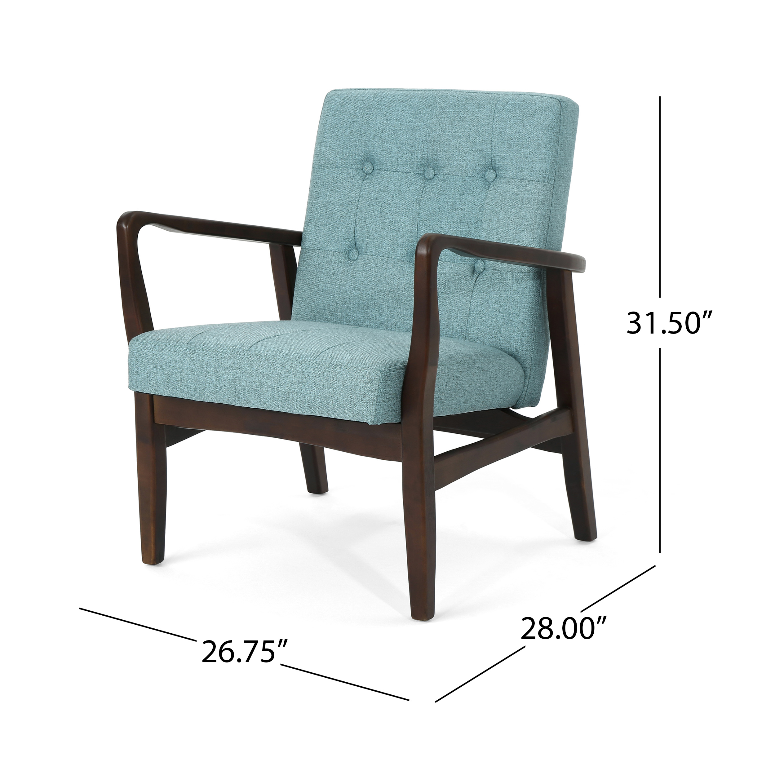 Details About Marcola Mid Century Modern Fabric Club Chair With Wood Frame