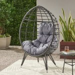 Hendryx Outdoor Wicker Teardrop Chair With Cushion